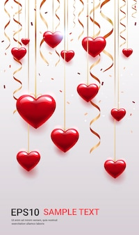 Valentinstag feier liebe banner flyer oder grußkarte mit herzen vertikale illustration