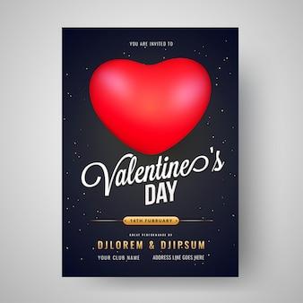 Valentinstag feier vorlage oder flyer design mit der zeit,