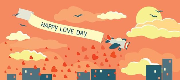 Valentinstag. flugzeug mit banner happy love day, sonnenaufgang über der stadt. vektor, flacher stil.