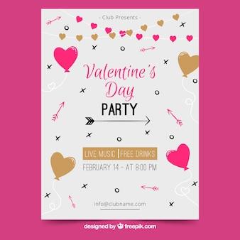 Valentinstag flyer / poster vorlage