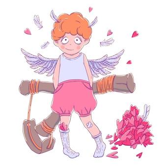 Valentinstag. frecher netter gelockter amorjunge mit slingshot hinter seinem rücken, flügeln und einem bündel herzen.