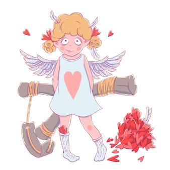 Valentinstag. freches nettes lockiges amor-mädchen mit slingshot hinter ihr zurück, flügeln und ein bündel herzen.