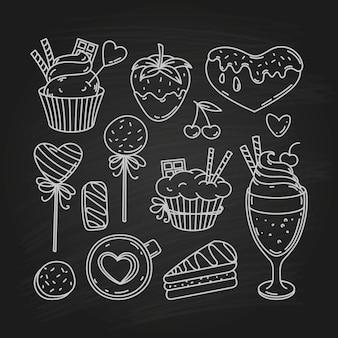 Valentinstag gekritzel snack, skizze urlaub sammlung von symbolen