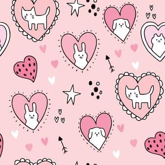Valentinstag-gekritzelherz der karikatur nettes und nahtloser mustervektor der liebe und der blume.