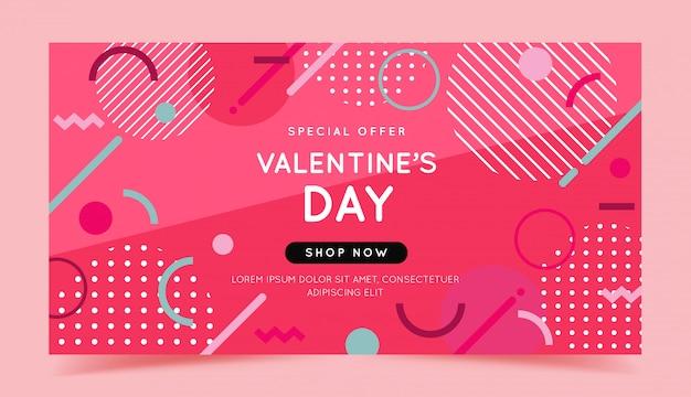 Valentinstag geometrische verkaufsfahne