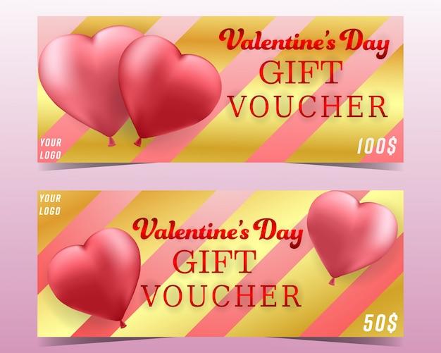 Valentinstag-geschenkgutschein-hintergrundfahnen eingestellt