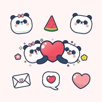 Valentinstag gesetzt mit niedlichen panda mit weichem herzen, mit liebe sie grußkarte aufkleber