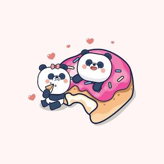 Valentinstag gesetzt mit niedlichen panda mit weichem herzen, mit liebe sie grußkarte