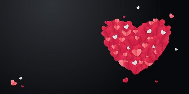 Valentinstag. großes herz, rote origami-herzen