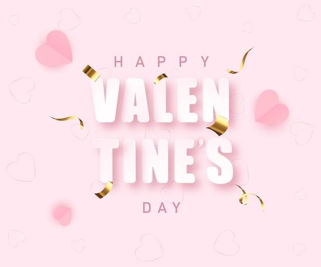 Valentinstag gruß banner im papierschnitt realistischen stil