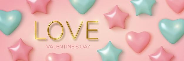 Valentinstag gruß, realistische rosa und blaue luftballons herzen und sterne