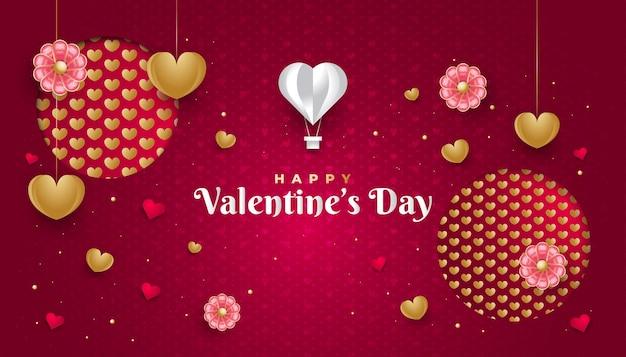 Valentinstag-grußfahne mit goldherzen, blumen und heißluftballon in papierschnittart auf rotem hintergrund mit herzmuster