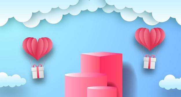 Valentinstag-grußkarte der 3d bühnenproduktanzeige mit blauem himmelhintergrund und ballon- und wolkenpapierschnittartillustration