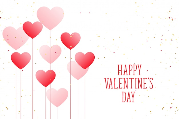 Valentinstag-grußkarte der schönen ballonherzen glückliche