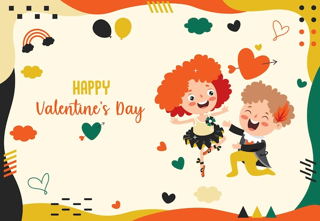 Valentinstag grußkarte design mit cartoon charakter