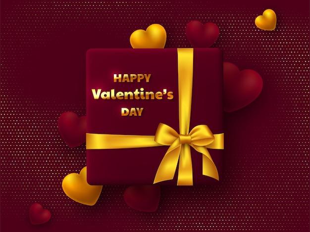 Valentinstag grußkarte. geschenkbox mit goldener schleife, 3d-herzen und grußtext