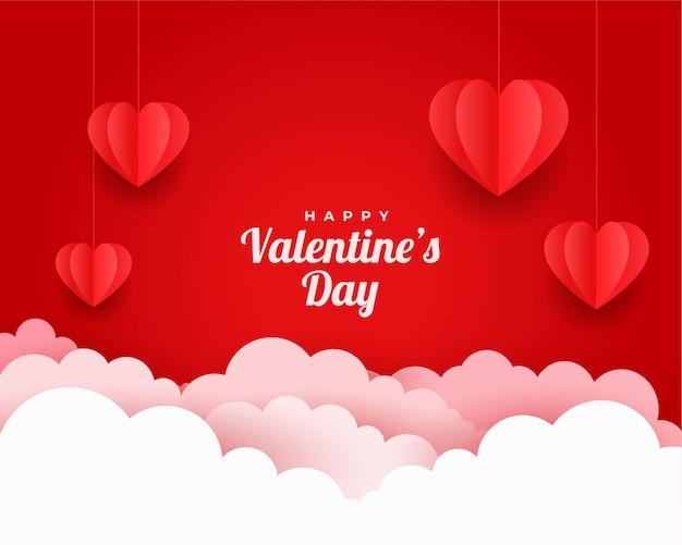 Valentinstag-grußkarte im papierschnittstil