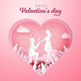 Valentinstag grußkarte. junger mann kniet zu seiner freundin und gibt eine rose mit geschnitztem herzen