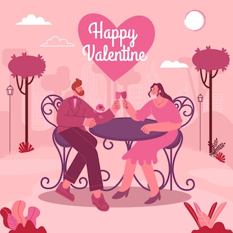 Valentinstag grußkarte. junges liebendes paar, das romantisches verabredungsessen im freien hat. moderne flache artvektorillustration