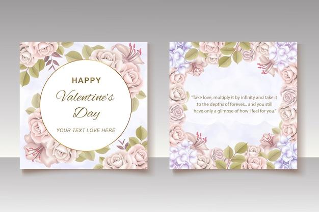 Valentinstag grußkarte mit blumen