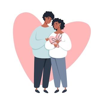 Valentinstag grußkarte mit einem paar in der liebe