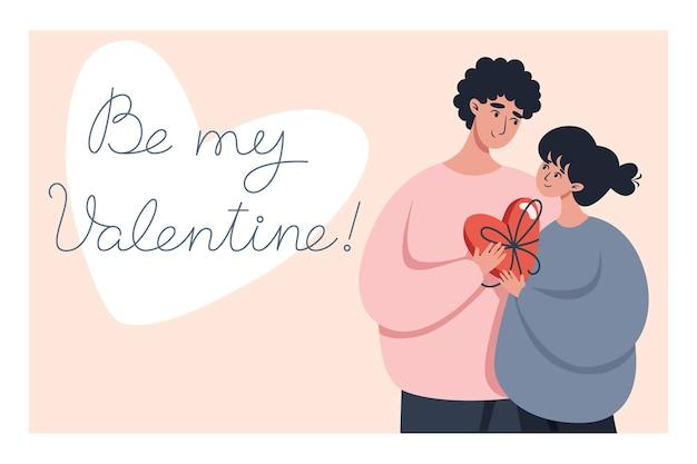Valentinstag grußkarte mit einem paar in liebe und schriftzug