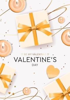 Valentinstag grußkarte mit geschenkboxen und kerzen.