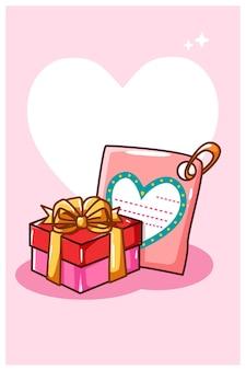 Valentinstag-grußkarte mit geschenkkarikaturillustration