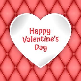 Valentinstag-grußkarte mit geschnittenem papierherz und platz für text