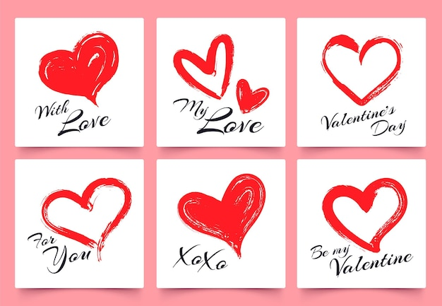 Valentinstag-grußkarte mit handgezeichneten grunge-herzen. elegante herzformen mit schriftzug mit liebe, für dich, xoxo. paarfeiertagsfeier, geliebte geschenkset-vektorillustration