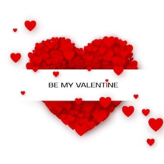 Valentinstag grußkarte mit herzen. durch meine valentinsgruß-einladungsschablone. konzept einer grußkarte für den valentinstag. illustration auf weißem hintergrund