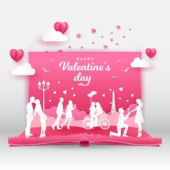 Valentinstag grußkarte mit romantischen paaren in der liebe. digitales popup-buch 3d mit papierschnittart-vektorillustration