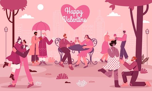 Valentinstag-grußkarte mit romantischen paaren verliebt in moderne flache artvektorillustration