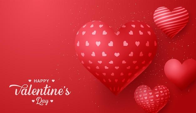 Valentinstag-grußkarte mit rotem herzformballon