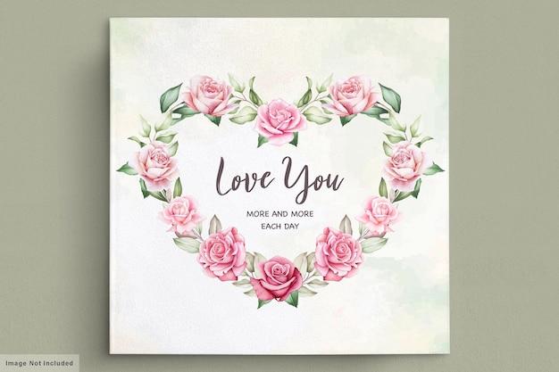 Valentinstag grußkarte mit schönen blumen und blättern