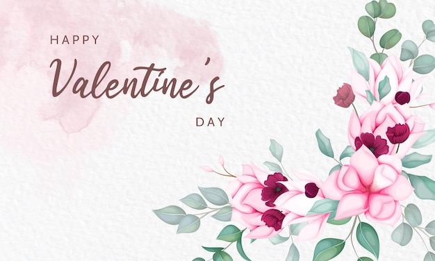 Valentinstag grußkarte mit schönen blumen Kostenlosen Vektoren