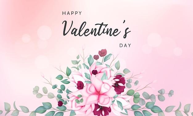 Valentinstag grußkarte mit schönen blumen
