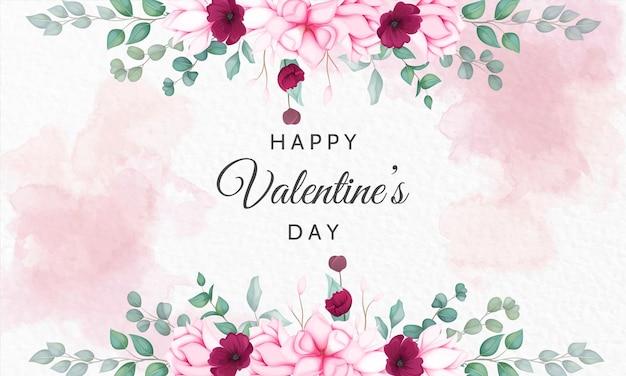Valentinstag grußkarte mit schönen blumen Premium Vektoren