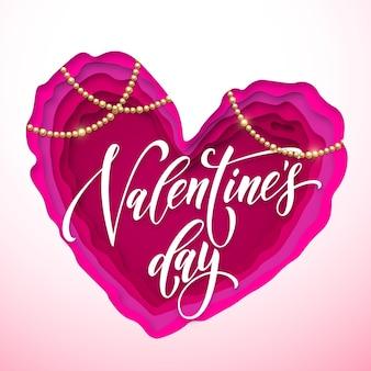 Valentinstag grußkarte mit schriftzug, schmuck und herz