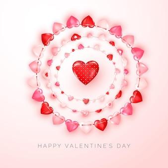 Valentinstag grußkarte mit text und dekoration girlande der herzen