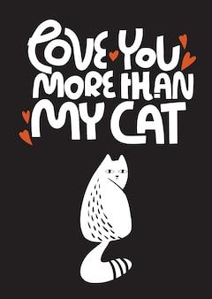 Valentinstag grußkarte mit trauriger katze