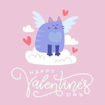 Valentinstag grußkarte oder banner. amor blau geflügelte katze sitzt auf der wolke mit herzen. flache illustration mit beschriftungstext.