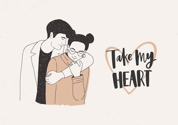Valentinstag-grußkarte oder postkartenschablone mit charmanter umarmung junger moderner mann und frau und take my heart-inschrift
