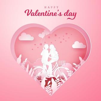 Valentinstag grußkarte. paar sitzt an einem fahrrad und schaut sich mit einer hand an, die herzförmige luftballons auf geschnitztem herzen hält