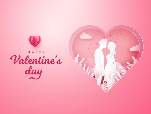 Valentinstag grußkarte. paar verliebt händchen haltend und einander mit geschnitztem herzen schauend