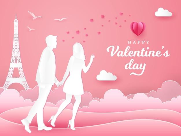 Valentinstag-grußkarte. paar zu fuß und hand in hand auf rosa. papierschnitt-artillustration