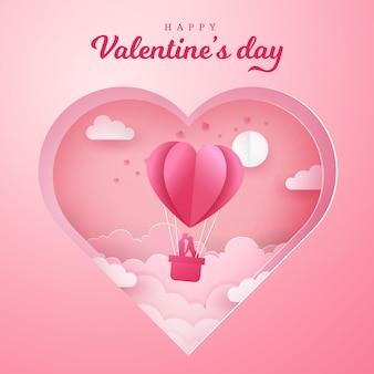 Valentinstag grußkarte. romantisches paar küsst und steht in einem korb eines luftballons mit geschnitztem herzen
