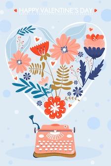 Valentinstag grußkarte. schreibmaschine mit blumen in form eines herzens.