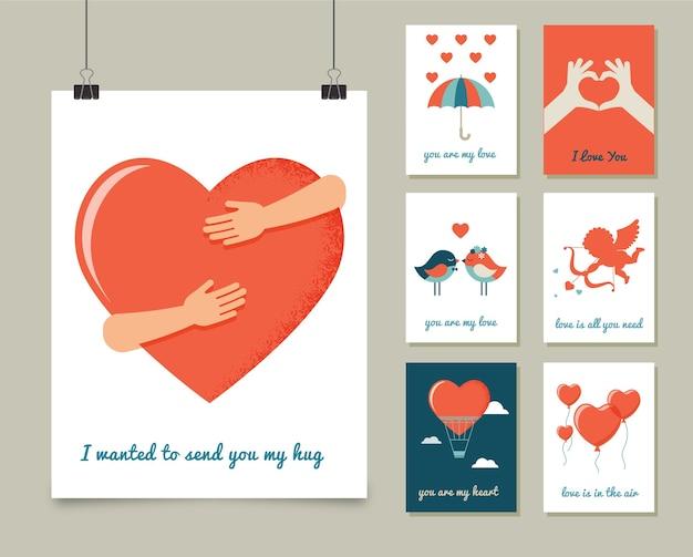 Valentinstag grußkarten, moderne sammlung