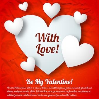 Valentinstag-grußkonzept mit weißen textherzen auf roter zerknitterter papiervektorillustration